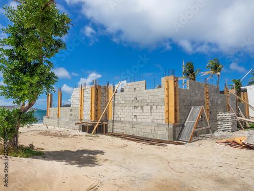 Foto Murales Cinder block building construction