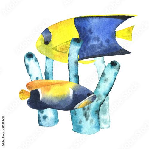 okragly-nadruk-z-akwarela-tropikalnych-ryb-i-wodorostow