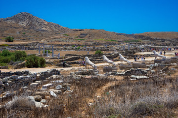 Ancient ruins in the island of Delos in Cyclades, one of the most important mythological, historical and archaeological sites in Greece.