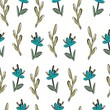 Floral vector seamless pattern for textile, packaging, Wallpaper. Botanical vintage ornament. - 212943873