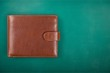 Leather wallet on green background