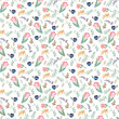 seamless pattern with tulips and wild flowers - 212949076