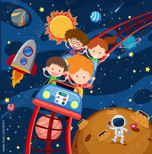 Fototapeta Kids riding roller coaster in space