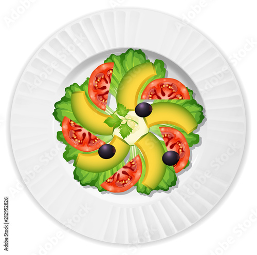 Wall mural Sald with avocado tomato lettuce