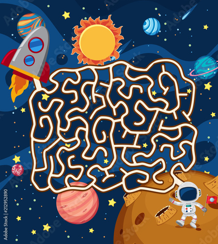 Fototapeta Astronaut in Space Maze Puzzle Game