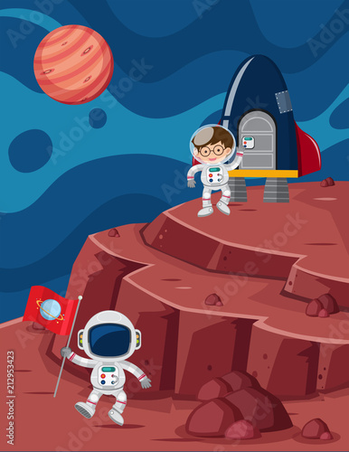 Astronaut Landed on Planet - 212953423