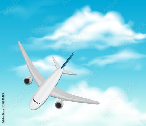 Fototapeta Airplane flying through the sky