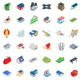 City factory icons set. Isometric style of 36 city factory vector icons for web isolated on white background