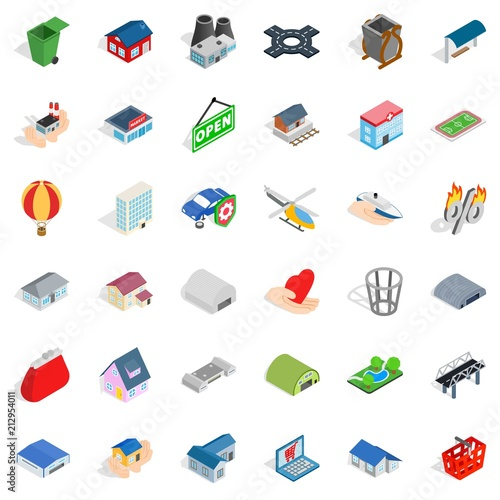 Obraz na płótnie City factory icons set. Isometric style of 36 city factory vector icons for web isolated on white background