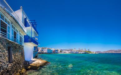 View of the famous pictorial Little Venice bay of Mykonos town in Mykonos island in Greece