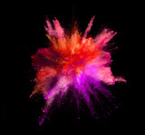 Explosion of coloured powder on black background - 212963000