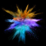 Explosion of coloured powder on black background - 212963067