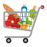 shopping cart with supermarket products vector illustration design - 212963492