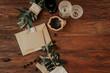 Leinwanddruck Bild - Rustic invitation card on wooden background. Wedding concept