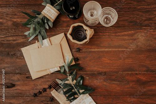 Leinwanddruck Bild Rustic invitation card on wooden background. Wedding concept