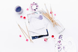 Artistic workspace, Brushes, paints, watercolor and a palette. Top view, flat lay. - 212973833