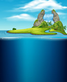 A Waterfall Island and Underwater - 212980852