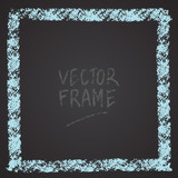 Frame drawn with a crayon. Wax crayon empty shape. Vector image of hand drawn stroke frame. Blue sguare outlined shape. - 212981210