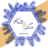 Wedding invitation card template, vector palm tree branches hexagon frame design with names and date.  - 212983050