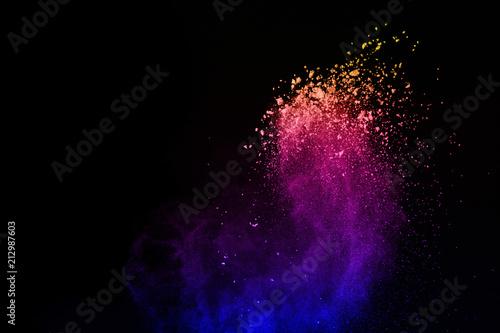 Aluminium Heelal Multicolor powder explosion on black background. Colored cloud. Colorful dust explode. Paint Holi.