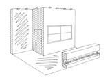 Exhibition stand graphic interior black white sketch illustration vector - 212996082