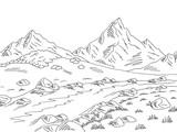 Mountain river graphic black white landscape sketch illustration vector - 212997215