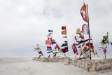 National flags in Salar de uyuni in Bolivia - 213001083