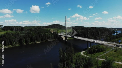 Poster Bridge over river Glomma named Smaalenene in Norway