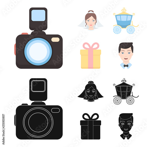 Bride, photographing, gift, wedding car. Wedding set collection icons in cartoon,black style vector symbol stock illustration web. - 213003807