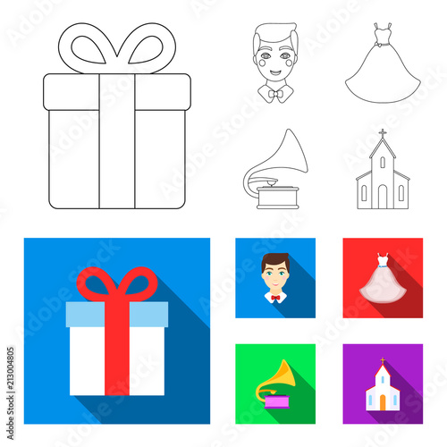 Fotobehang Auto Wedding dress, groom, gramophone, church. Wedding set collection icons in outline,flat style vector symbol stock illustration web.