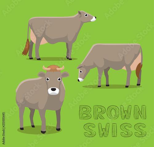 Krowa brown Szwajcarska kreskówka wektoru ilustracja