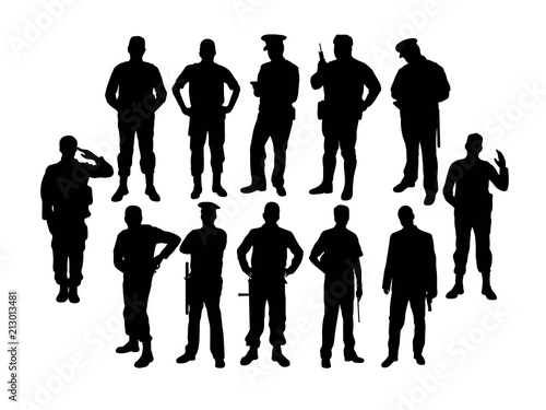 Soldier and Police Silhouettes, art vector design © martinussumbaji