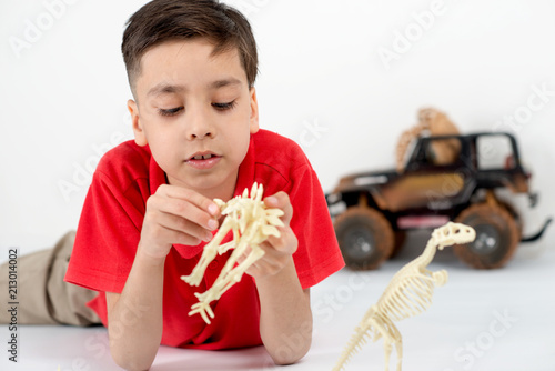 Fototapeta The boy wearing red shirt lies on a floor and plays with toy skeletons of dinosaurs.