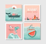 Hand drawn vector abstract graphic cartoon summer time flat illustrations cards template collection set with beach people,mermaid and whale,sunset and tropical birds isolated on white background - 213021441