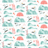 Hand drawn vector abstract cartoon summer time graphic illustrations artistic seamless pattern with flying sea gulls,stones,coral reefs ,seaweeds and shell on beach isolated on white background - 213021818