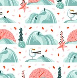 Hand drawn vector abstract cartoon summer time graphic illustrations artistic seamless pattern with flying sea gulls,stones,coral reefs ,seaweeds and shell on beach isolated on white background - 213021857