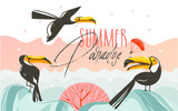 Hand drawn vector abstract cartoon summer time graphic illustrations art with beach sunset scene and tropical toucan birds with Summer Parsdise typography text isolated on white background - 213021890