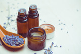 lavender body care products. Aromatherapy, spa and natural healthcare concept - 213028672