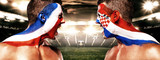 Soccer or football fan athlete with bodyart on face - flags of France vs Croatia. Sport Concept with copyspace. Final. - 213030471
