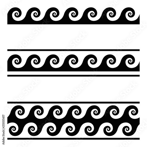 fototapeta na ścianę Running dog pattern, a seamless meander design over white. Continuous waves, shaped into a repeated motif. Scroll pattern, used as decorative border. Also Vitruvian wave or Vitruvian scroll. Vector.