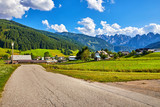 Austria country road among picturesque landscapes and villages - 213036457