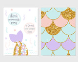 Cute party invitation with mermaid tail, scale pattern and gold glitter elements. Vector hand drawn illustration. - 213040259