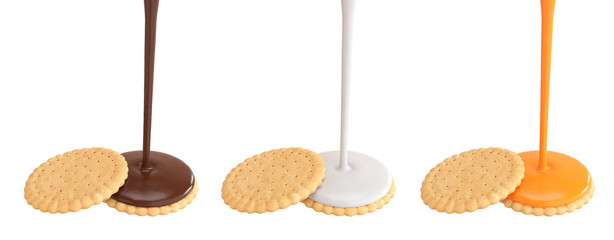 Sandwich cookies with Delicious vanilla cream and chocolate Flow, © Anusorn