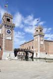 Renaissance gate entrance to Arsenale, Venice, Veneto, Italy - 213042472