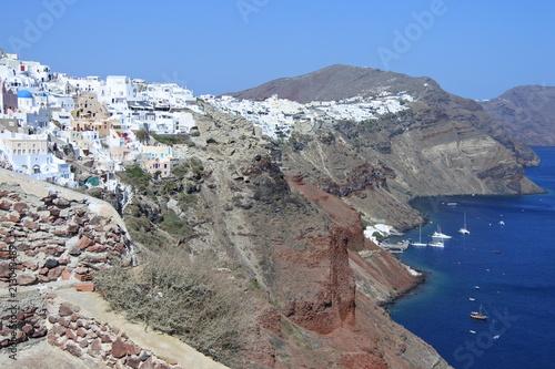 Fotobehang Santorini Oia mit Hafen