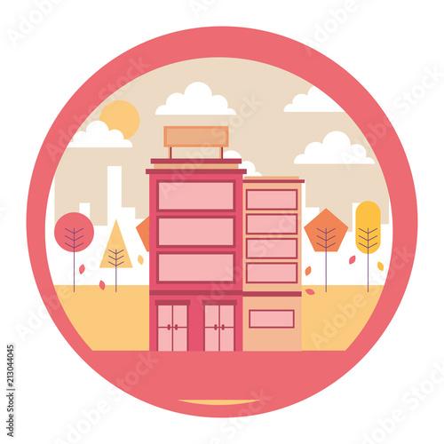Obraz na płótnie hotel building urban trees scene vector illustration