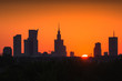 Panorama of skyscrapers in the center of Warsaw at sunrise, Poland - 213046233