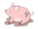 Cute cartoon pig in the puddle of mud. Vector illustration. - 213048600