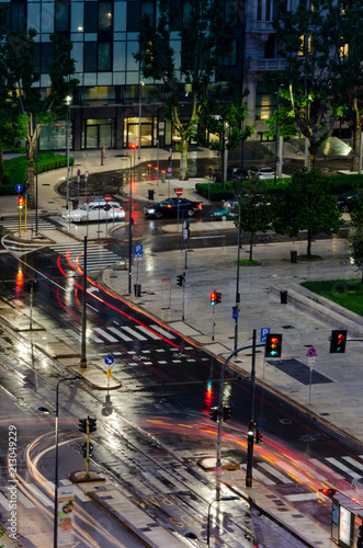 Foto Murales Milan Nighttime Street scene