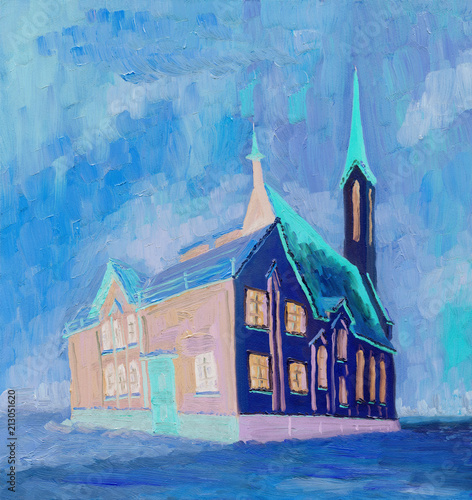 Oil Painting. Beautiful Cathedral on a cloudy winter day. Rough brush strokes. Bright colors. © Viktar